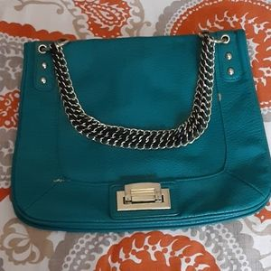 Turquoise faux leather purse